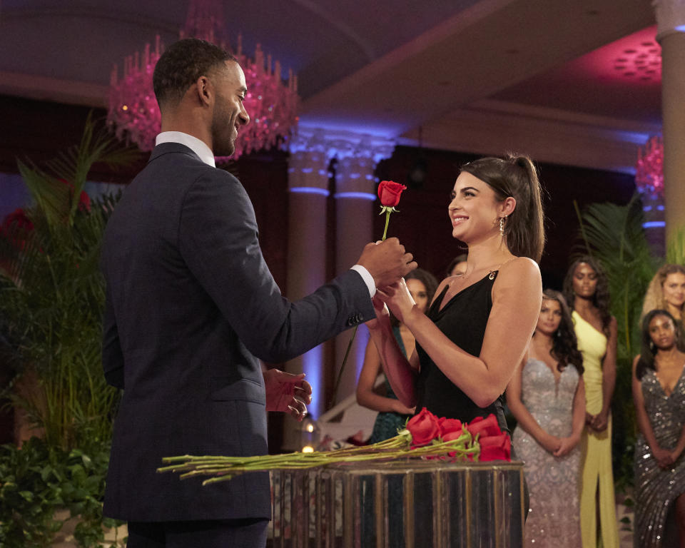 Matt James gives Rachael Kirkconnell a rose on The Bachelor.