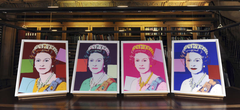 "Four Andy Warhol portraits of Queen Elizabeth II are seen in Windsor Castle, Windsor, England, Monday Sept. 24, 2012, and will form part of the ""Portraits of a Monarch"" exhibit starting in November at Windsor Castle until June 2013. The colorful screenprints are based on a formal photograph of the queen wearing a tiara and necklace that was used during her Silver Jubilee celebrations in 1977. (AP Photo/PA, Andrew Matthews) UNITED KINGDOM OUT NO SALES NO ARCHIVE"