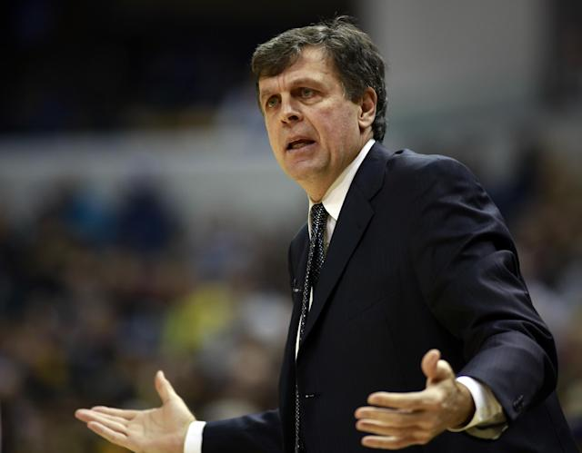 Houston Rockets head coach Kevin McHale questions an official's call in the first half of an NBA basketball game against the Indiana Pacers in Indianapolis, Friday, Dec. 20, 2013. (AP Photo/R Brent Smith)