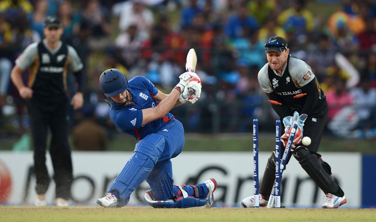 KANDY, SRI LANKA - SEPTEMBER 29:  Craig Kieswetter of England is bowled by Daniel Vettori of New Zealand during the  ICC World Twenty20 2012 Super Eights Group 1 match between England and New Zealand at Pallekele Cricket Stadium on September 29, 2012 in Kandy, Sri Lanka.  (Photo by Gareth Copley/Getty Images,)