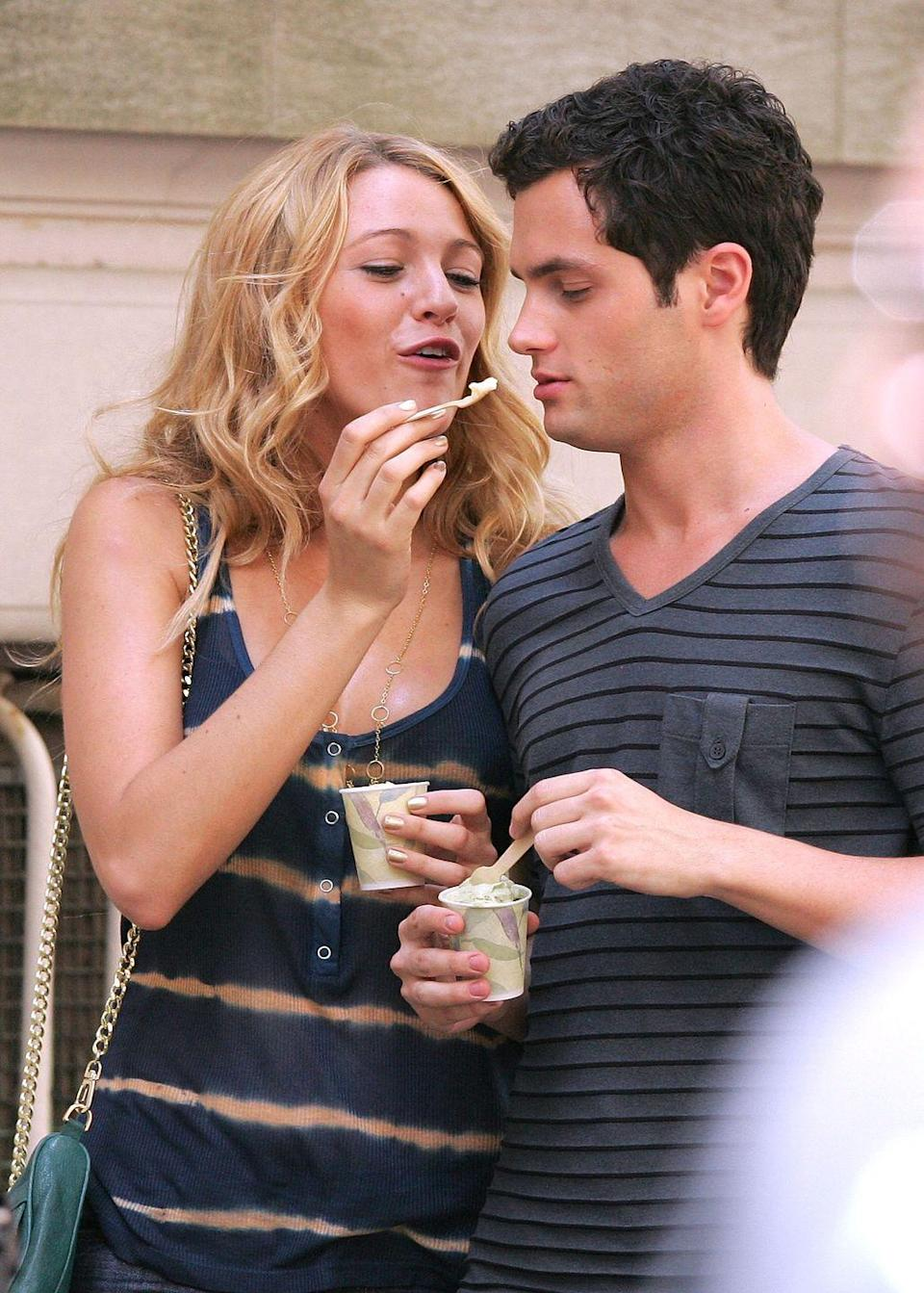 "<p>Taking a cue from their on-screen characters, the <em>Gossip Girl </em>co-stars' relationship heated up in real life, with Lively and Badgley dating for a solid <a href=""http://www.people.com/people/article/0,,20437192,00.html"" rel=""nofollow noopener"" target=""_blank"" data-ylk=""slk:three years"" class=""link rapid-noclick-resp"">three years</a> while working together, too. Their romance ended in 2010, which must've made it super strange to not only continue working together but also to <em>marry</em> each other on the show during the final, 2012 season.</p>"