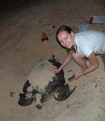 The author in the Torres Strait Islands, Australia, conducting sea turtle research. Photo by Mariana Fuentes.
