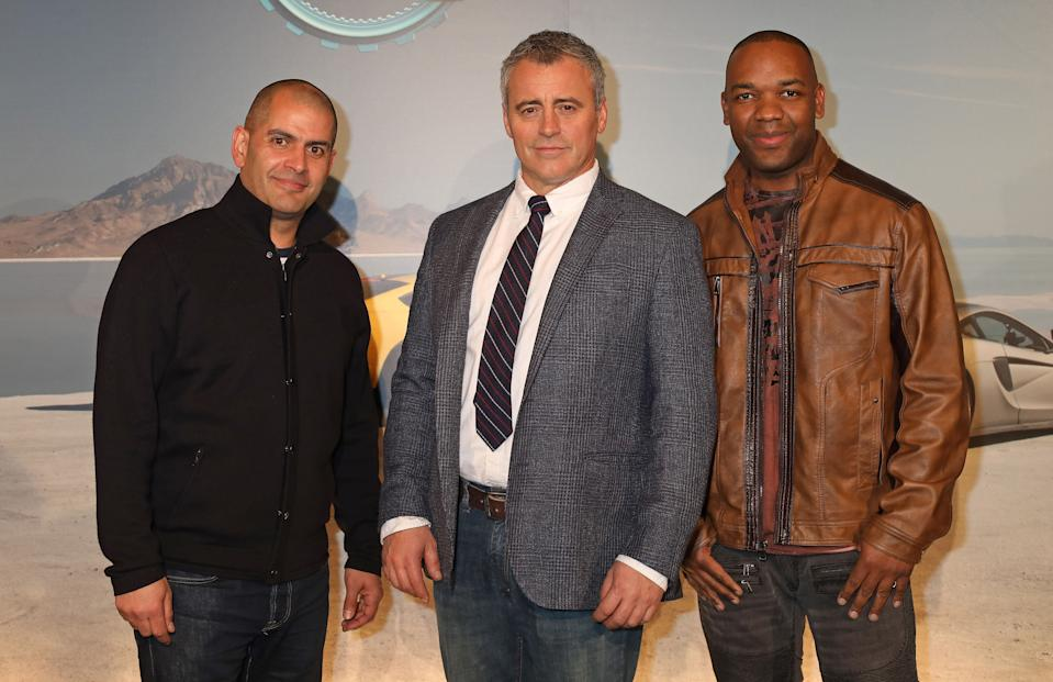 (left to right) Chris Harris, Matt Le Blanc and Rory Reid arriving for a screening of Top Gear series 25 at the May Fair Hotel in London. (Photo by Philip Toscano/PA Images via Getty Images)