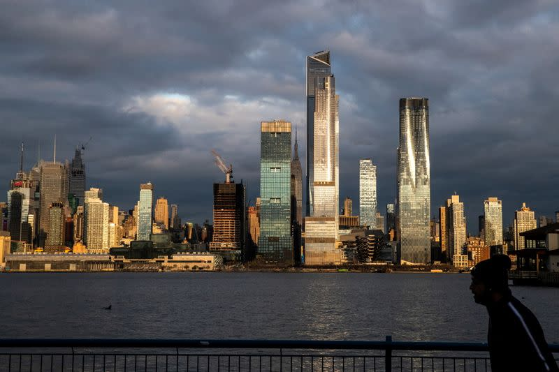 FILE PHOTO: A view of the New York City skyline of Manhattan and the Hudson River during the outbreak of the coronavirus disease (COVID-19) in New York City, as seen from Weehawken, New Jersey