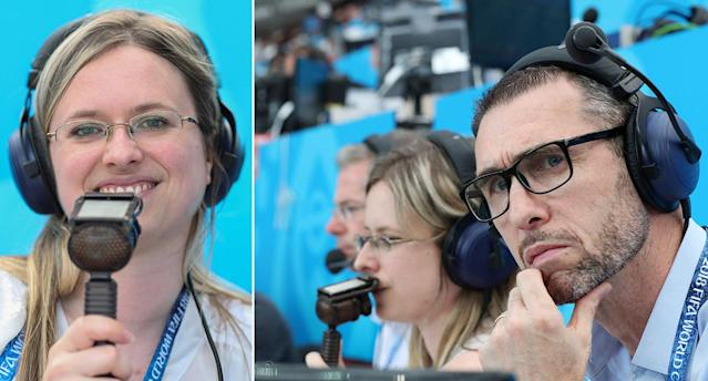 Vicki Sparks makes history as the UK's first female live commentator at the World Cup, alongside Martin Keown. (Rex)