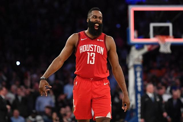 Reigning NBA MVP James Harden scored 43 points for the Houston Rockets to extend his historic streak of scoring at least 30 points to 26 consecutive games (AFP Photo/Sarah Stier)