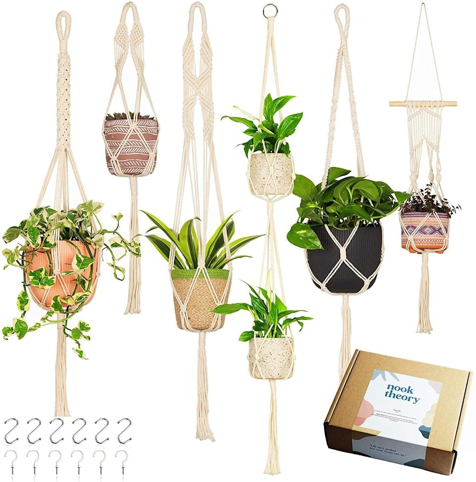 <p>If you love all things macrame, you can't go wrong with the <span>Handcrafted Macrame Plant Hanger - 6-Pack</span> ($28). You'll have enough to hang a plant in every room.</p>
