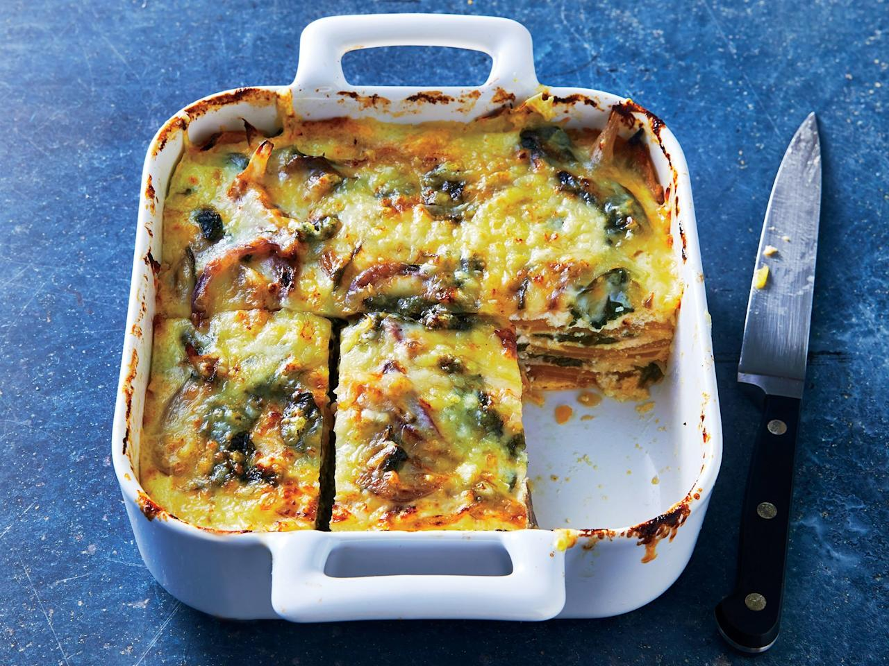 """<p>Silky roasted butternut squash stands in for noodles in this more nutritious take on the starchy pasta casserole.</p> <p><a href=""""https://www.myrecipes.com/recipe/butternut-squash-and-spinach-lasagna"""">Butternut Squash and Spinach Lasagna Recipe</a></p>"""