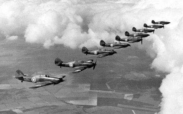 Hurricanes flying in formation in 1940 - Popperfoto