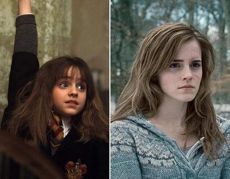 """<p>Emma Watson has played the role of Hermione Granger in """"Harry Potter"""" for the last 10 years, taking on Hermione at the young age of 10. Moving from a young, know-it-all book worm in """"Philosopher's Stone"""" to a blossoming young woman in """"Deathly Hallows,"""" Emma created waves earlier this year after cutting off all her hair to celebrate the end of a decade of playing Hermione. Emma is currently studying at Brown University in the US. So what's coming up for Hermione in """"Deathly Hallows?"""" Hermione must stand on her own, away from her books and the walls of Hogwarts as she hunts down Voldermort with Harry and Ron (with a few kissing scenes thrown in for good measure).</p>"""