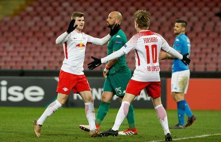 Soccer Football - Europa League Round of 32 First Leg - Napoli vs RB Leipzig - Stadio San Paolo, Naples, Italy - February 15, 2018 RB Leipzig's Timo Werner celebrates scoring their third goal with Emil Forsberg. REUTERS/Ciro De Luca