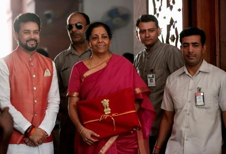 FILE PHOTO: India's Finance Minister Nirmala Sitharaman arrives to present the 2019 budget in Parliament, New Delhi, India