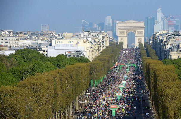 PHOTO: Thousands of runners compete in the 43rd Paris Marathon on April 14, 2019, in Paris. (Frederic Stevens/Getty Images)
