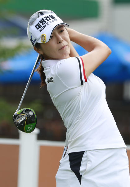 Mi Jung Hur hits her tee shot from the ninth hole during the final round of the Indy Women in Tech Championship golf tournament, Sunday, Sept. 29, 2019, in Indianapolis. (AP Photo/R Brent Smith)
