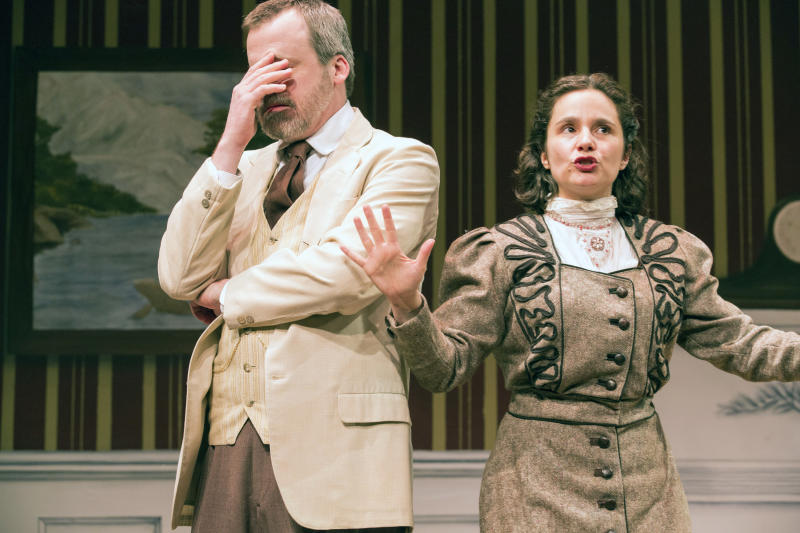 "This theater image released by Blake Zidell & Associates shows Bradford Cover, left, and Rachel Botchan in a scene from ""This Side of Neverland,"" two J. M. Barrie plays currently performing off-Broadway at The Pearl Theatre Company in New York.  (AP Photo/Blake Zidell & Associates, Al Foote III)"