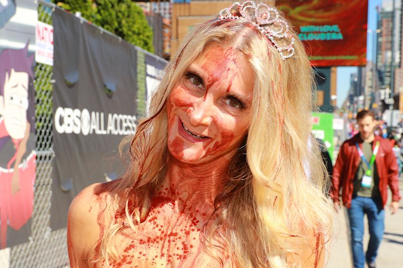"A cosplayer dressed as ""Carrie"" shows up for the New York Comic Con 2019 covered in blood at Jacob Javits Center on Oct. 5, 2019 in New York City. (Photo: Gordon Donovan/Yahoo News)"