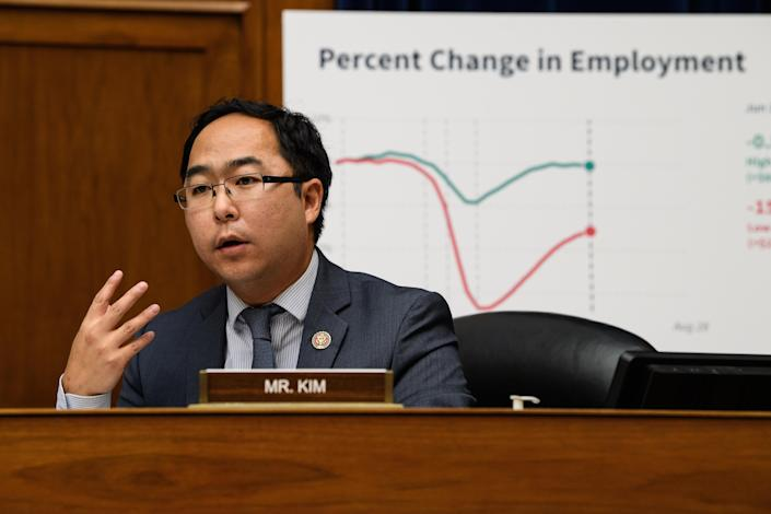 Rep. Andy Kim, a Democrat from New Jersey, speaks during a House Select Subcommittee on the Coronavirus Crisis hearing in Washington, D.C., on Sept. 1. (Nicholas Kamm/AFP/Bloomberg via Getty Images)