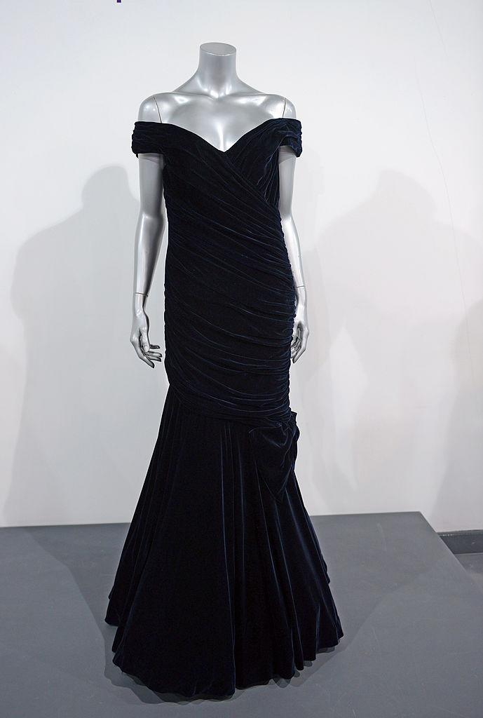 Victor Edelstein Midnight Blue Velvet Gown worn for a State dinner at the White House when Diana danced with John Travolta in November 1985. (Photo: Getty)