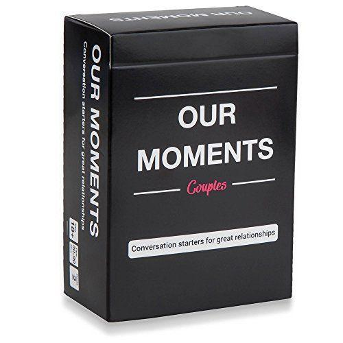 """<p><strong>OUR MOMENTS</strong></p><p>amazon.com</p><p><strong>$18.95</strong></p><p><a href=""""https://www.amazon.com/dp/B078RDNFSC?tag=syn-yahoo-20&ascsubtag=%5Bartid%7C2139.g.34408578%5Bsrc%7Cyahoo-us"""" rel=""""nofollow noopener"""" target=""""_blank"""" data-ylk=""""slk:Shop Now"""" class=""""link rapid-noclick-resp"""">Shop Now</a></p><p>Chances are, you already know how to talk to your husband or wife, but this fun set of cards features conversation starters to get the party going. It's a perfect option for a date-night in to continue playing even after your anniversary is over.</p>"""