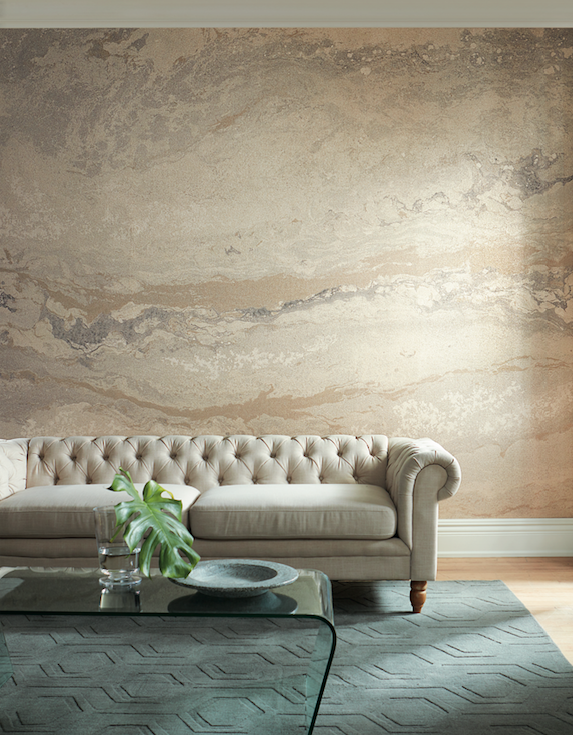 """<p>This mural, digitally printed on reflective mica, evokes the essence of earth, stone, water and air to create a free-form natural pattern. </p><p>Sheila's A-List Anecdote: <em>""""This digitally printed mural is so unique - I really like the horizontal and fluid nature of the pattern, which reminds me of a natural stone.""""</em></p><p>Exclusively distributed by Holly Hunt.</p><p><a href=""""https://www.carlisleco.com/products/mineral"""" rel=""""nofollow noopener"""" target=""""_blank"""" data-ylk=""""slk:Click to View More"""" class=""""link rapid-noclick-resp"""">Click to View More</a><br></p>"""