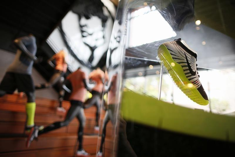 A shoe is displayed in the Nike store in Santa Monica
