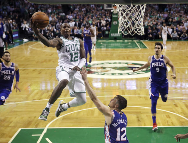 Celtics guard Terry Rozier drives to the basket against the 76ers on Wednesday night. (AP)