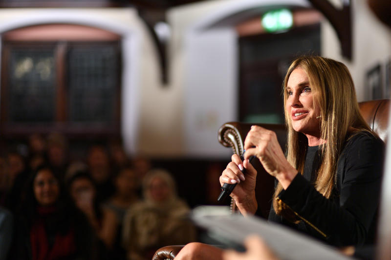 Caitlyn Jenner addresses students at The Cambridge Union. (Chris Williamson via Getty Images)