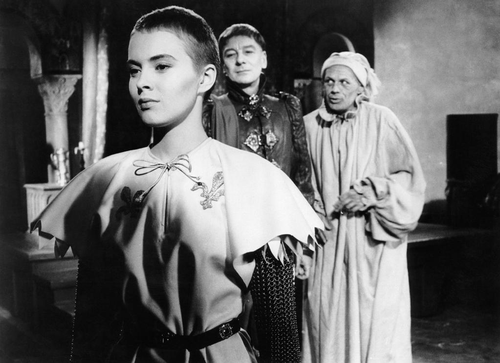 """1957 Art imitated life on this day when actress Jean Seberg caught fire while portraying Joan of Arc tied to the stake, on the set of Otto Preminger's """"Saint Joan"""" (1957)."""