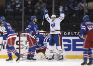 Buffalo Sabres' Dylan Cozens (24 )s celebrates a second-period goal by Tobias Rieder, not seen, against the New York Rangers in an NHL hockey game Tuesday, March 2, 2021, in New York. (Bruce Bennett/Pool Photo via AP)