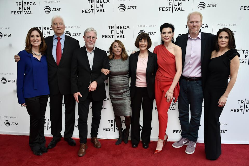 NEW YORK, NY - APRIL 30: Carolyn Bernstein, Lt. Col. Jerry Jaax, Richard Preston, Lynda Obst, Lt. Col. Nancy Jaax, Julianna Margulies, Noah Emmerich, and Courteney Monroe attend Tribeca TV: The Hot Zone during the 2019 Tribeca Film Festival at SVA Theater on April 30, 2019 in New York City.  (Photo by Steven Ferdman/Getty Images for Tribeca Film Festival)