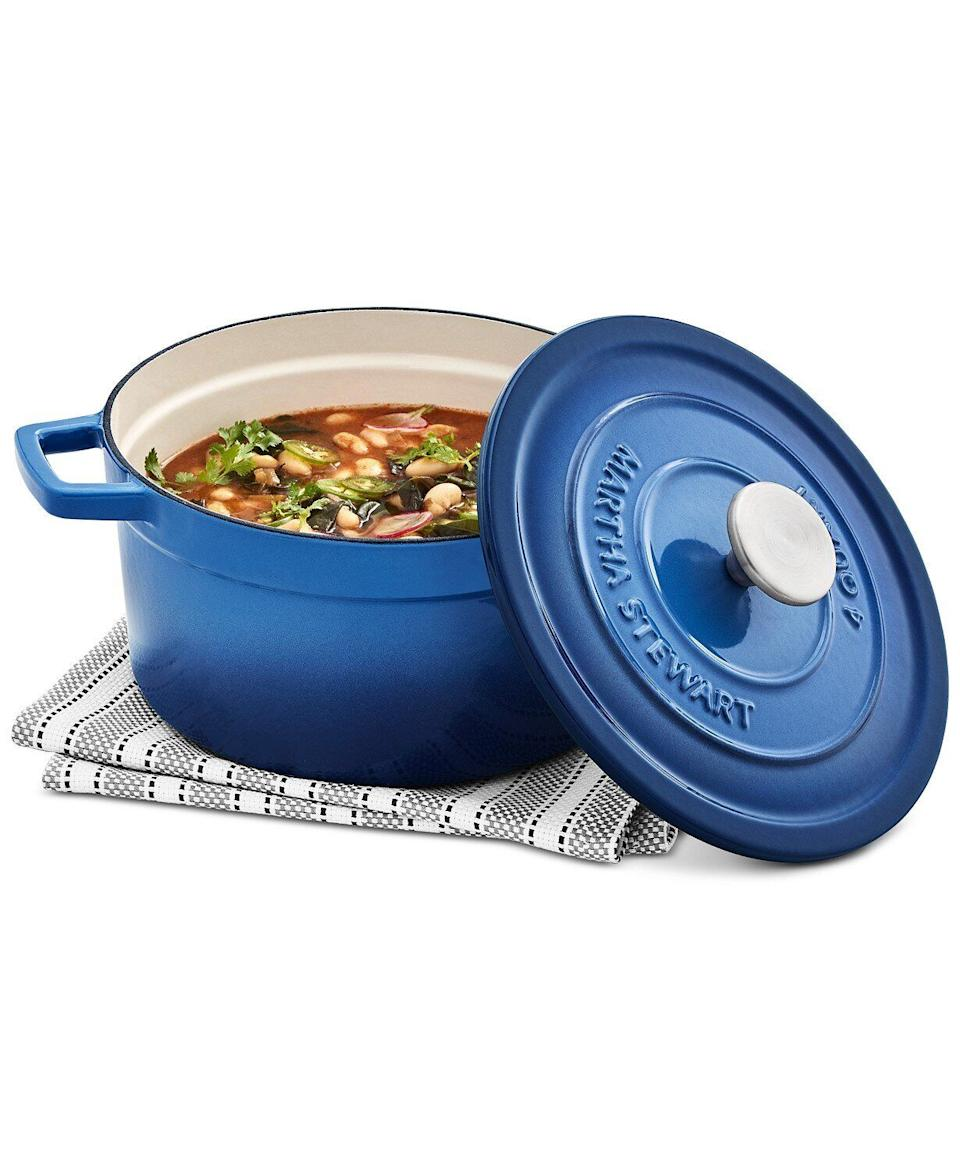 "Another one of the cookware deals that we spotted earlier in the month, this <a href=""https://fave.co/3nu8kaj"" target=""_blank"" rel=""noopener noreferrer"">Martha Stewart Dutch oven</a> is more than $100 off now. It's ideal for slow cooking and baking casseroles in. This Dutch oven is made with enamel and cast iron, making it look a lot like something from Le Creuset. <a href=""https://fave.co/3nu8kaj"" target=""_blank"" rel=""noopener noreferrer"">Find it for $56 with code <strong>FRIEND</strong> at Macy's</a>."