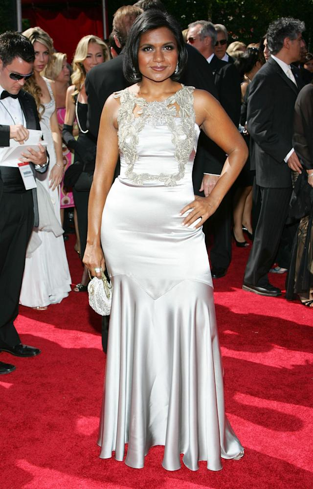 LOS ANGELES, CA - SEPTEMBER 16: Actress Mindy Kaling arrives at the 59th Annual Primetime Emmy Awards at the Shrine Auditorium on September 16, 2007 in Los Angeles, California. (Photo by Ethan Miller/Emmys/Getty Images for FOX)