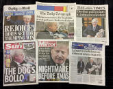 A combo of British national newspapers on Friday, Dec. 13, 2019 that all lead with the general election victory of Prime Minister Boris Johnson. Prime Minister Boris Johnson's Conservative Party has won a solid majority of seats in Britain's Parliament — a decisive outcome to a Brexit-dominated election that should allow Johnson to fulfill his plan to take the U.K. out of the European Union next month. (AP Photo/Tony Hicks)