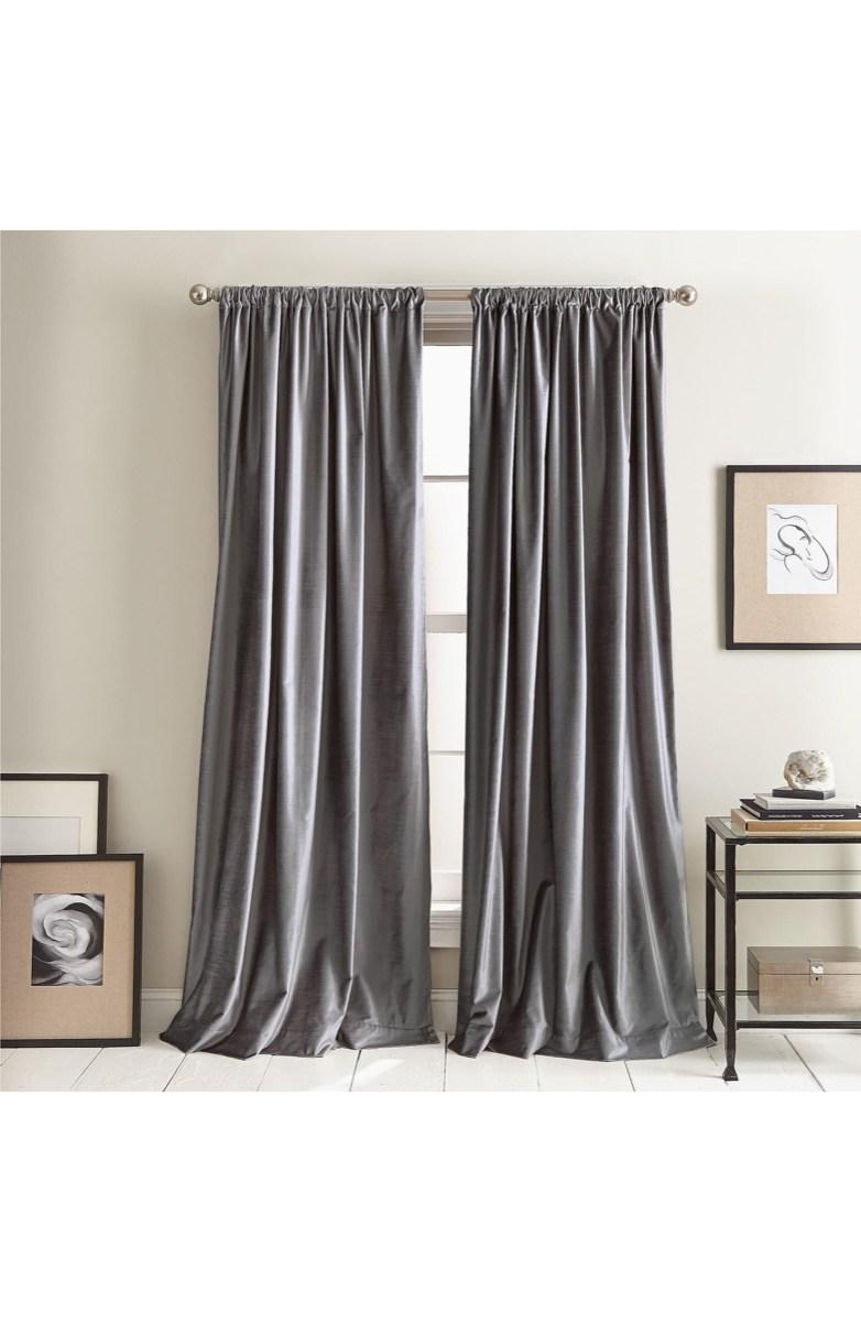 long gray velvet curtains hung in tan room, fall decorating tips