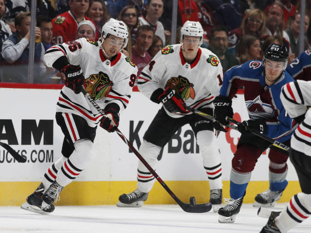 "<a class=""link rapid-noclick-resp"" href=""/nhl/teams/chi"" data-ylk=""slk:Chicago Blackhawks"">Chicago Blackhawks</a> right wing Dylan Sikura (95) will have a chance to be fantasy relevant next season. (AP Photo/David Zalubowski)"