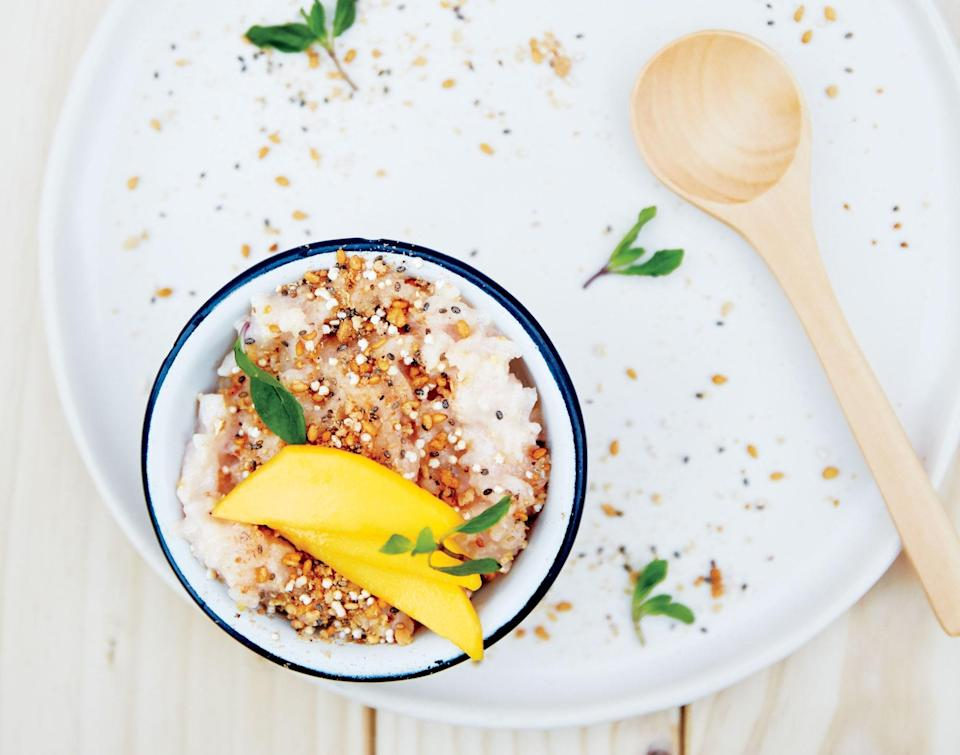 """Ginger adds unexpected heat and zing to this coconut rice pudding; the crunchy topping lends a welcome texture contrast. <a href=""""https://www.bonappetit.com/recipe/rice-pudding-ginger-amaranth-mango?mbid=synd_yahoo_rss"""" rel=""""nofollow noopener"""" target=""""_blank"""" data-ylk=""""slk:See recipe."""" class=""""link rapid-noclick-resp"""">See recipe.</a>"""