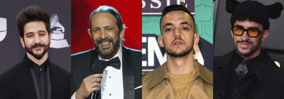 This combination of photos shows, from left, Colombian singer-songwriter Camilo, Dominican maestro Juan Luis Guerra, Spanish rapper C. Tangana and Puerto Rican rapper Bad Bunny, who received the most Latin Grammy nominations on Tuesday, Sept. 28. Camilo led the Latin Grammy Awards nominations with 10 nods, Guerra received six, C. Tangana earned five and Bad Bunny scored four. The 22nd Latin Grammy Awards will be held on Nov. 18. (AP Photo)