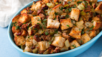 """<p>Stuffing isn't only for Thanksgiving. If it's not in your dinner side rotation, you best add it!</p><p>Get the recipe from <a href=""""https://www.delish.com/cooking/recipe-ideas/recipes/a52928/italian-sausage-stuffed-peppers-recipe/"""" rel=""""nofollow noopener"""" target=""""_blank"""" data-ylk=""""slk:Delish"""" class=""""link rapid-noclick-resp"""">Delish</a>.</p>"""
