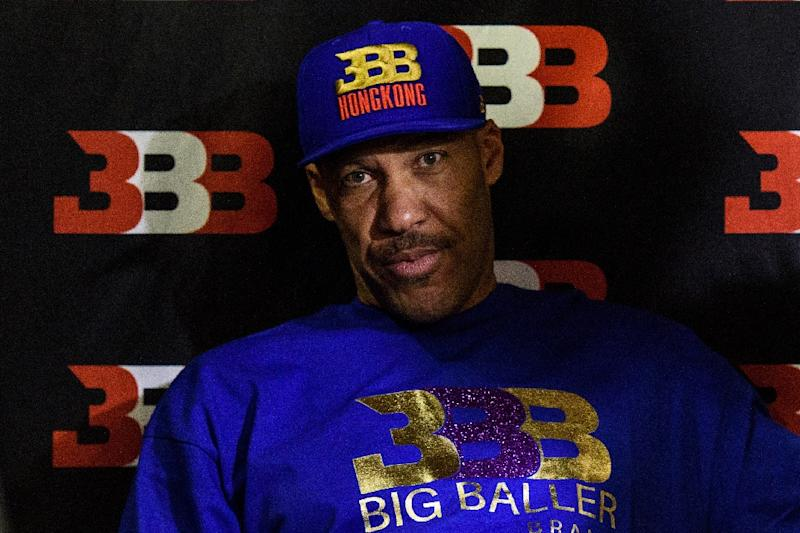 LaVar Ball (L), father of basketball player LiAngelo Ball and the owner of the Big Baller brand, is launching a Junior Basketball Association (AFP Photo/Anthony WALLACE)