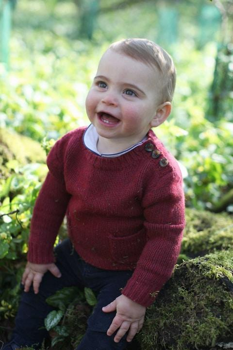 The one-year-old Prince Louis seems to have been happily rolling in moss - Credit: Duchess of Cambridge