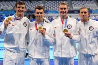 Swimming - Men's 4 x 100m Freestyle Relay - Medal Ceremony