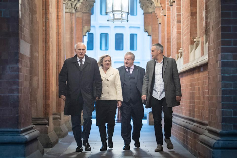 Opposition MPs on their way to meet Michel Barnier in Brussels (PA)