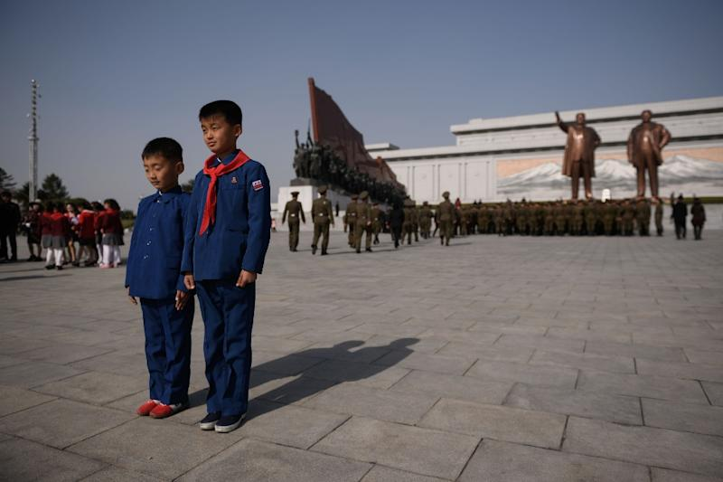 North Koreans are taught from birth to revere the Kim family and the ceremonies surrounding occasions such as the 'Day of the Sun' are one of the ways in which authorities reinforce loyalty (AFP Photo/Ed JONES)