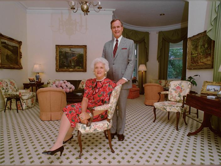 George and Barbara Bush in the official vice president's residence.