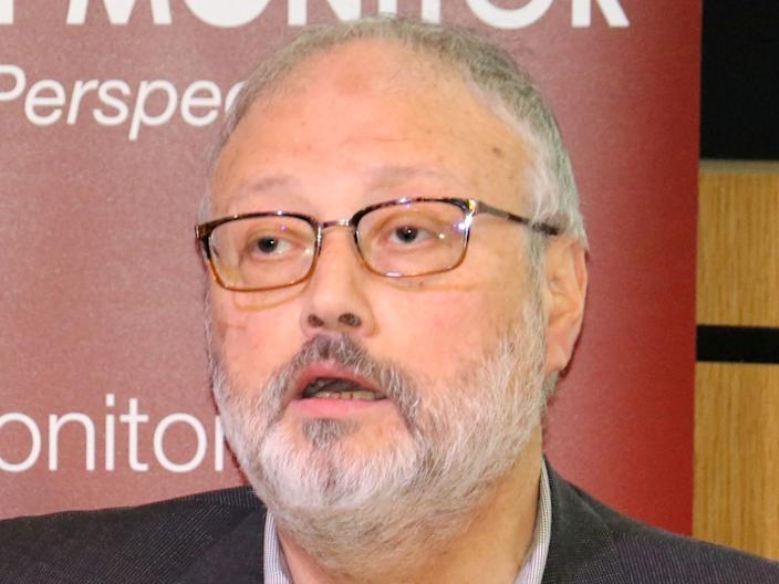 FILE PHOTO: Saudi dissident Jamal Khashoggi speaks at an event hosted by Middle East Monitor in London, Britain, September 29, 2018. Picture taken September 29, 2018. Middle East Monitor/Handout via REUTERS