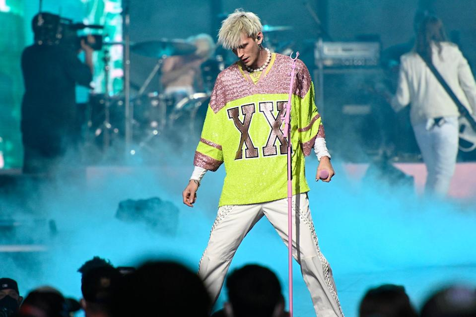 <p>Machine Gun Kelly performed onstage after the final round of the 2021 NFL Draft at the Great Lakes Science Center in Cleveland, Ohio.</p>