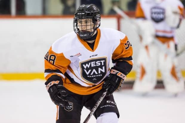 Connor Bedard in action for the West Van Warriors before his move to Saskatchewan. He was selected first overall by the Regina Pats in the 2020 WHL Bantam Draft.
