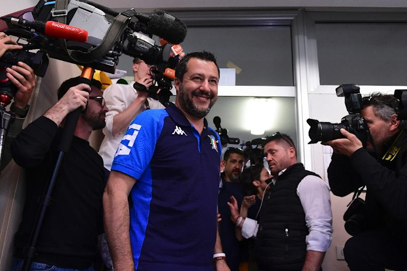 Italian Deputy Prime Minister and Interior Minister Matteo Salvini arrives to cast his ballot at a polling station in Milan with exit polls later showing his far-right party on top in EU elections
