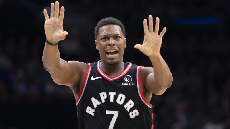 Toronto Raptors guard Kyle Lowry shook off a heckler following a 110-104 loss to the Philadelphia 76ers. (Mitchell Leff/Getty Images)