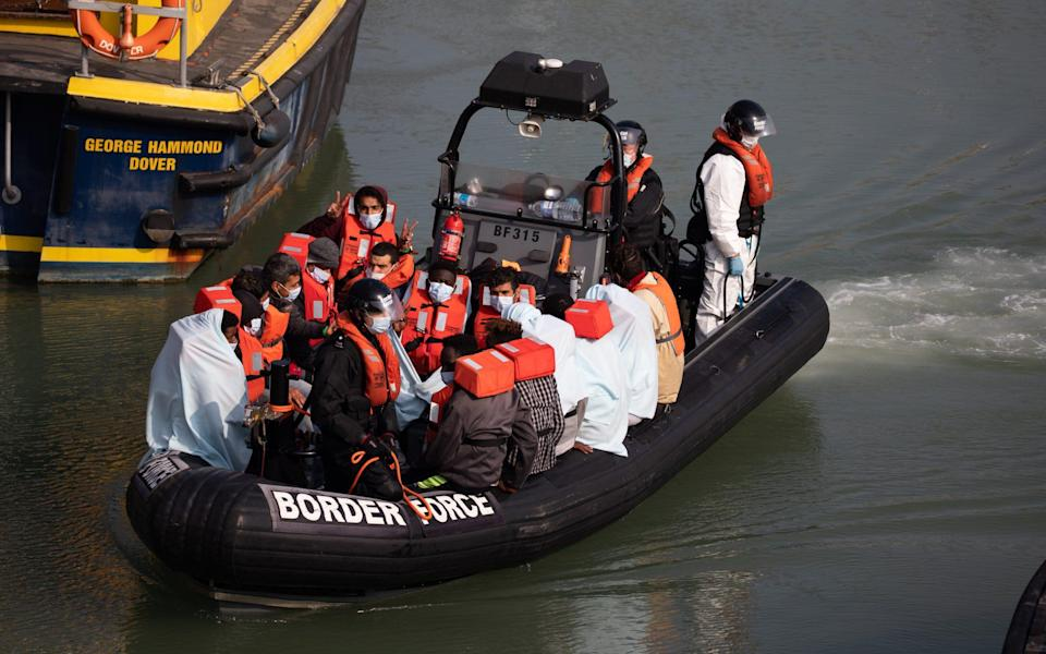 Border Force officials transport migrants, that have been intercepted in the English Channel, in order to process them - Luke Dray/Getty Images Europe